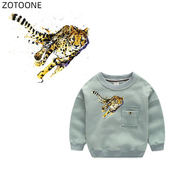 ZOTOONE Leopard Patches Iron on Heat Transfers Animal Patch for Clothes Sticker for Kids Applications DIY Washable Appliques G iron on cartoon anime patches for kids animal patch for clothing bag cute bat hero bear stickers diy heat transfers appliques h