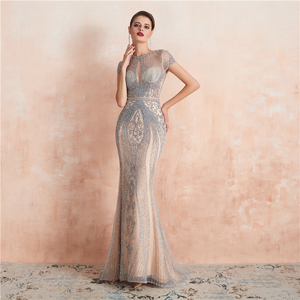 Image 4 - New Arrivals In Stock Luxurious Sexy Formal Evening Dresses Crystal Beaded Robe De Soiree  Real Photos WT5553