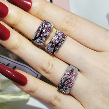 2pcs Pack 2021 New Luxury Fashion Black Pink Branch Tree 925 Sterling Silver Jewelry Set For Women Party Gift Wholesale J6165