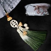 סיני אלמנט נייד טלפון תליון היקפי לוטוס לוטוס לוטוס פרח ציצית תליון חליל אוזן תליון טלפון נייד שרשרת