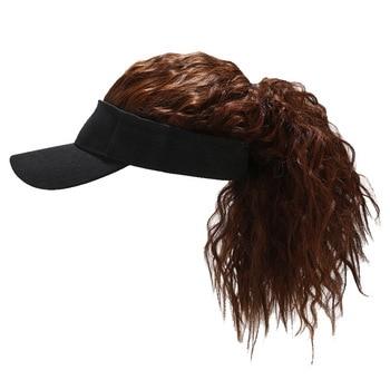 Visera de pelo falso para mujer, sombrero de sol, gorra de béisbol, peluca, tupé, Snapback, sombreros, regalo