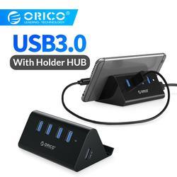 ORICO 5Gbps عالية السرعة المصغرة 4 منافذ USB3.0 HUB الخائن لأجهزة الكمبيوتر المحمول سطح المكتب مع حامل حامل للكمبيوتر هاتف لوحي-أسود/أبيض