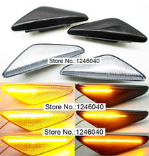 2PCS LED Dynamic Side Marker Turn signal repeater light indicator Flowing Flash fit for BMW X3 X5 X6 E70 E71 2008 2014 E72 F25