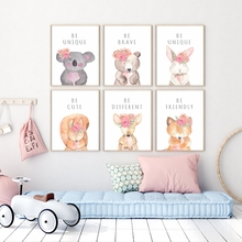 Canvas Posters Prints Lovely Cartoon Animal With Flowers Bunny Inspirational Phrase Picture For Nursery Wall Art Kids Room Decor