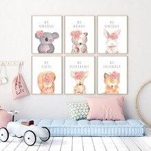 Quadros de lona adorável dos desenhos animados animais com flores coelho inspirador frase imagem para o berçário arte da parede crianças decoração do quarto