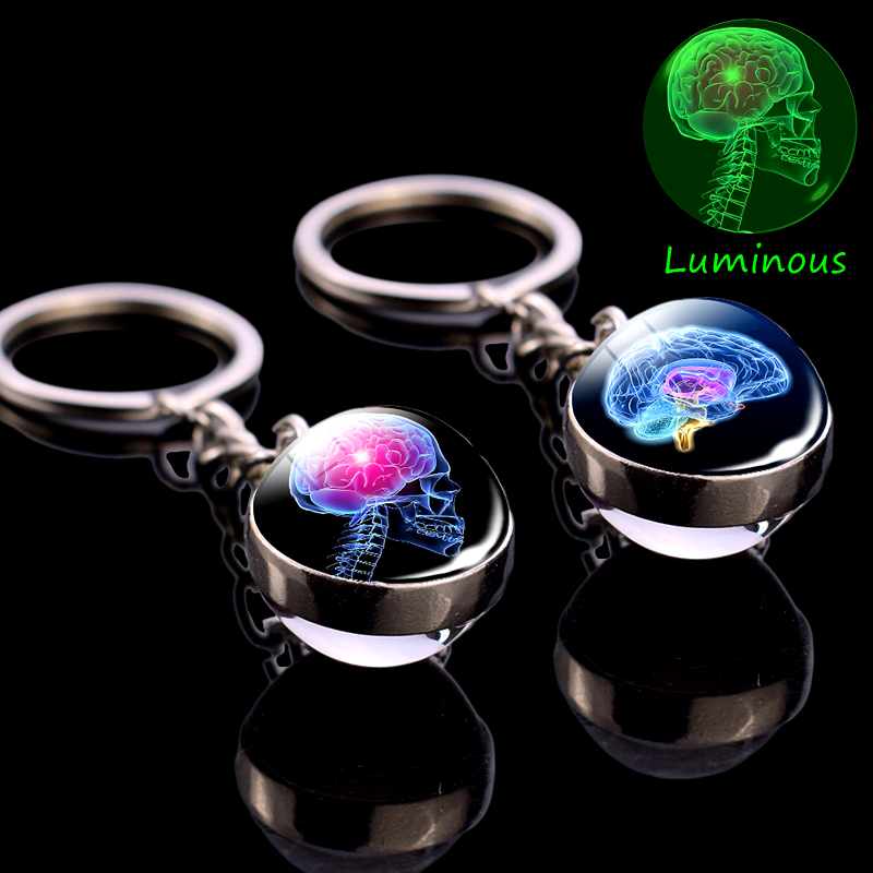 Glowing Skull Keychain Anatomy Key Chain ECG Heart Brain Luminous Jewelry Stainless Steel Silver Glass Ball Keychain Doctor Gift