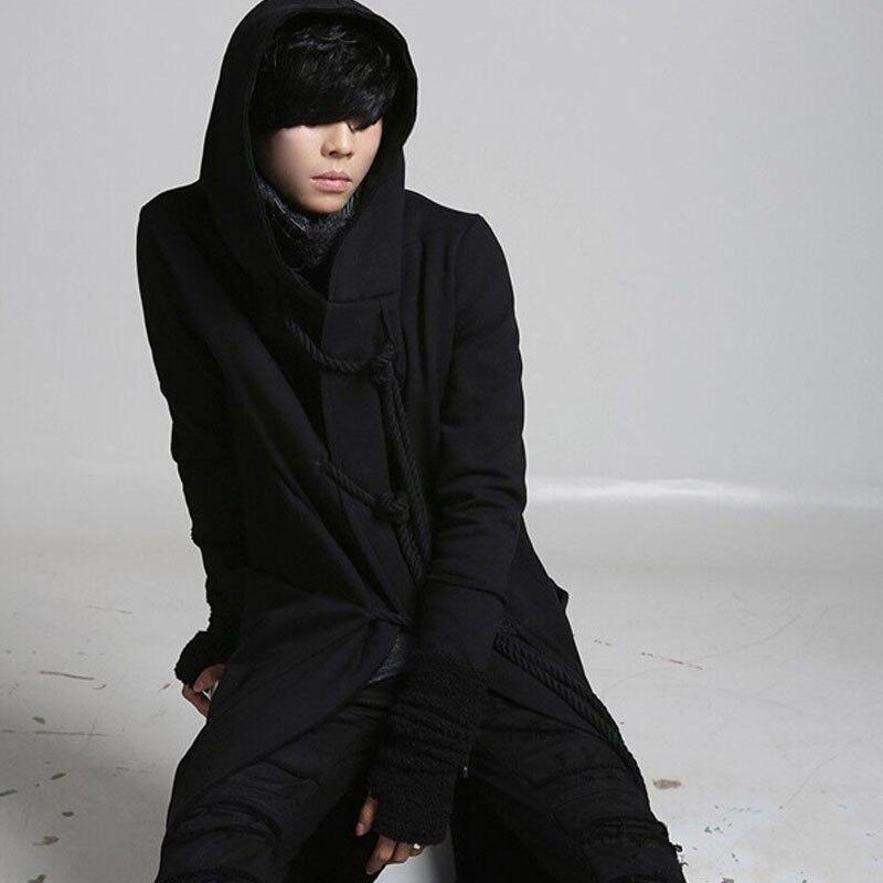 Homem com cordão preto gotico punk rock estilo longo trench coat com capuz casaco homens coreano