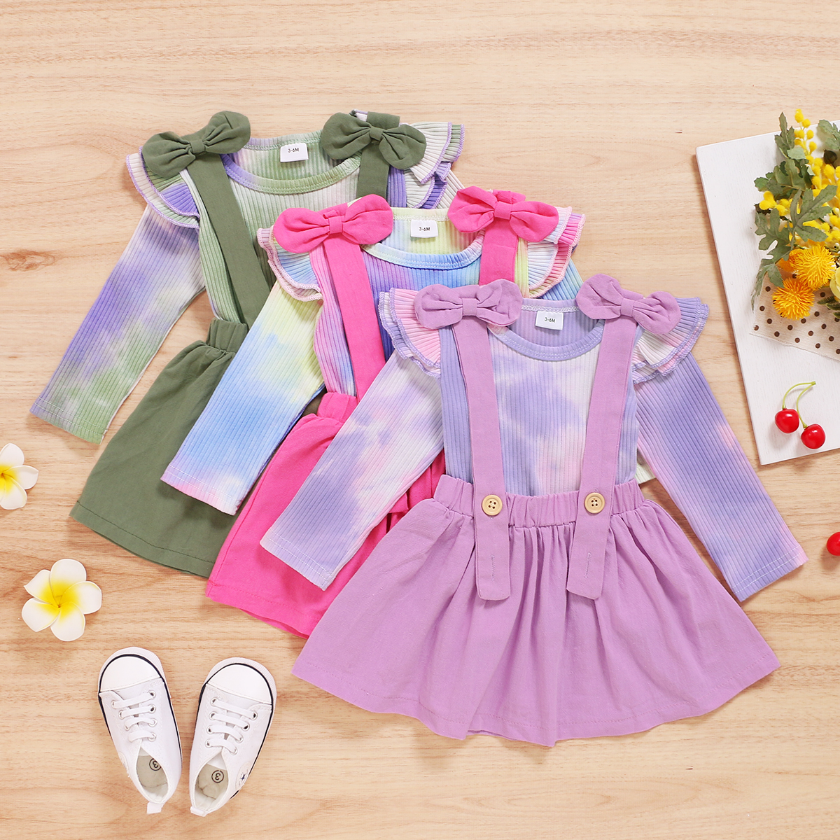 2Pcs Baby Autumn Outfits, Tie-Dyed O-Neck Ruffle Sleeves Top + Suspenders Skirt with Bowknot Suit for Infant Baby Toddler Girls