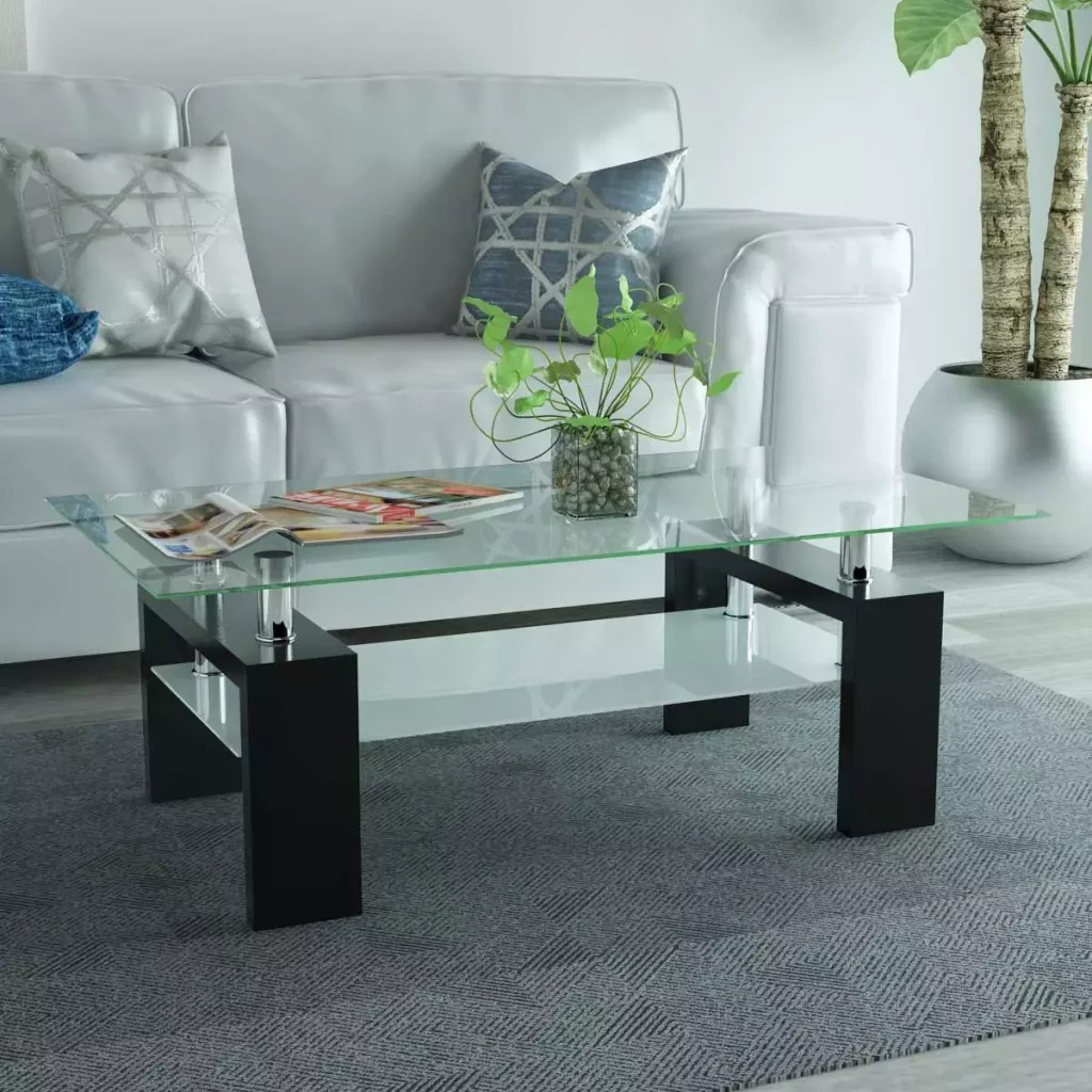 VidaXL High-Gloss Coffee Table With Lower Shelf 110x60x40 Cm Black Living Room Furniture With Tempered Safety Glass