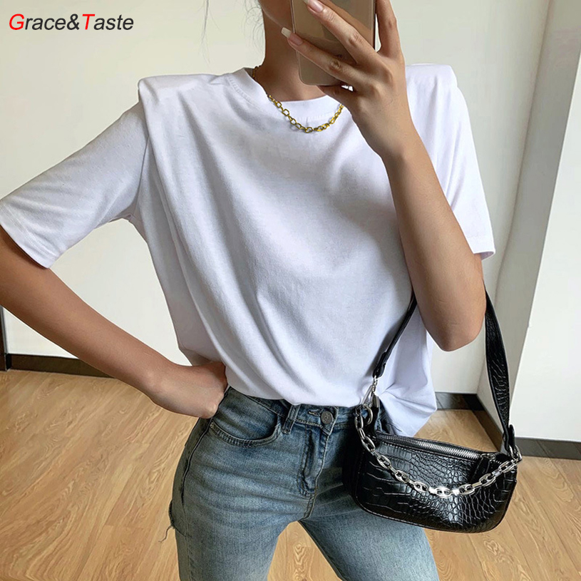 Fashion OL Tees Shoulder Pads Short Sleeve Top T-Shirts Simple Cool Silky Smooth Loose Elegant Beautiful Comfortable Autumn Tops 1