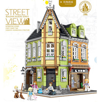 MOC City Streetview series The brickstive victor's lab Corner shop Model Building Blocks Bricks Kids Toys Gifts Christmas gift