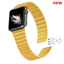 Double Magnetic Clasp Strap for Apple watch band 44mm 40mm Leather loop iwatch Series 4 5 3 2 42mm 38mm bracelet Apple watch 4 5
