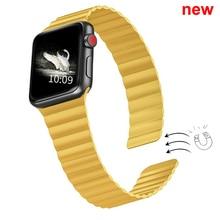 Double fermoir magnétique bracelet pour bracelet de montre Apple 44mm 40mm boucle en cuir iwatch série 4 5 3 2 42mm 38mm bracelet montre Apple 4 5