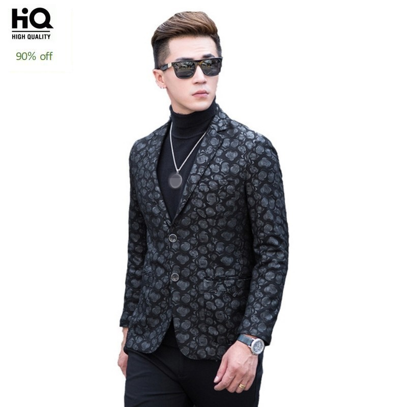 2020 Designer Sheepskin Genuine Leather Suits Jackets Mens Fashion Floral Real Leather Blazer Coats Business Casual Overcoats