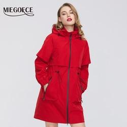 MIEGOFCE 2020 New Spring Women Coat Jacket Windproof Windbreaker Fashion Medium-Length Loose Classic Model Fitted Zipper Pockets
