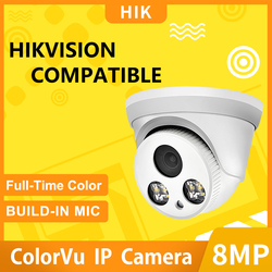 Hikvision compatível 8mp câmera ip dome poe 24 horas cor em tempo integral 5mp cctv segurança 2mp onvif plug & play com hikvision nvr