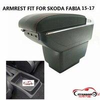 Citycarauto maior espaço + luxo + usb caixa de apoio de braço do carro central caixa de conteúdo de armazenamento com suporte de copo usb apto para skoda fabia 2015-17