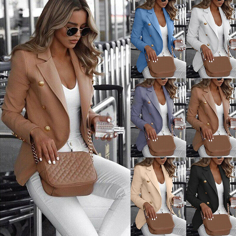 Plus Size Womens Long Sleeve Button Blazer Work Jacket Coat Outwear Top Suit Casual Blazer Coat For Office Lady Clothes