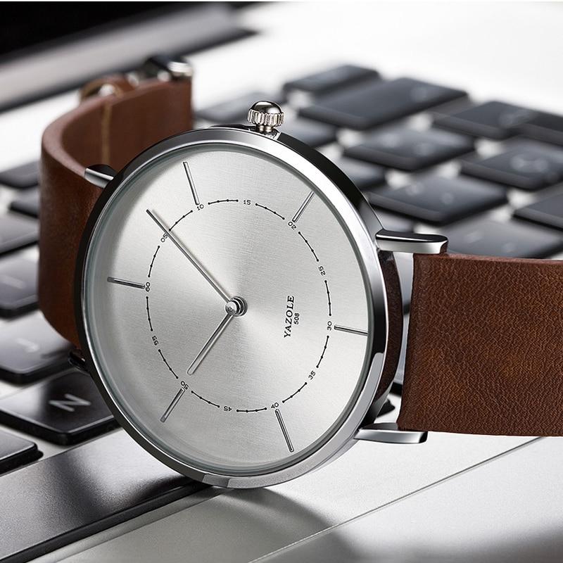 New Fashion Men Minimalist Watch Leather Strap Simple Watches Quartz Wristwatch For Men Elegant Watch Ultra Thin Reloj Hombre