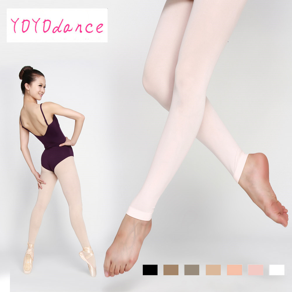 Discount Brand Adult Soft Elastic Collant  Women Ballet Footless Dance Tights With Waistband Cotton Gusset