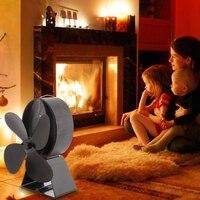 Lareira preta 4 lâmina calor alimentado fogão ventilador log queimador de madeira eco amigável silencioso casa eficiente distribuição de calor Exaustores     -