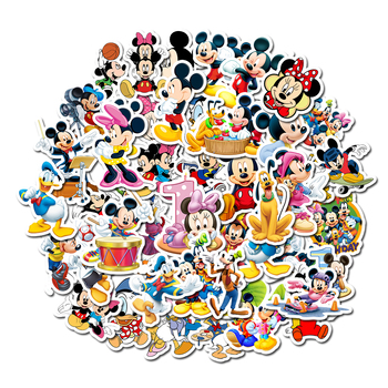 10/30/50 pcs/Pack Disney Mickey Adhesive Anime Cartoon Car Motorcycle Phone Travel Luggage Trolley Laptop Computer Sticker Toy image