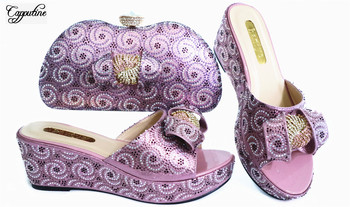 Nice purple pink wedge heel African pump shoes and evening bag set with rhinestones for wedding/party GL1912-5, heel height 7cm