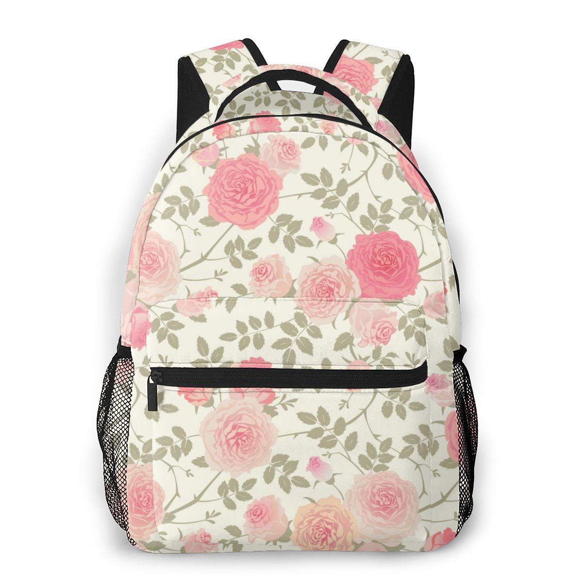 Bolsa de Ombro para Meninas Mochila Feminina Adolescentes Rosa Flores Bagpack Feminino Senhoras Escolar