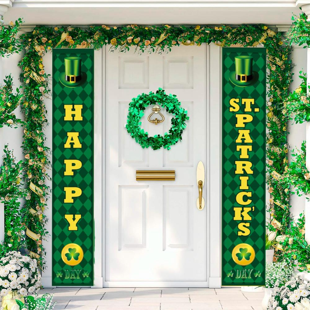 FENGRISE Happy Saint Patricks Day Decor For Home Clovers Porch Banner St. Patricks Day Party Decor Irish Party Supply Favor Gift