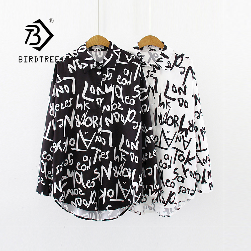 New Arrival Letter Print Turn-down Collar Ovesize Long Chiffon Blouse Button Up Casual Chic Black Shirt Feminina Blusa T99021F