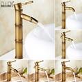 Antique laiton cascade salle de bain évier robinet navire grand bambou robinet d'eau mélangeur chaud et froid monotrou bassin robinet Vintage