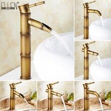 Grifo de latón antiguo para lavabo de baño, mezclador de agua de bambú alto, grifo de lavabo de un solo orificio caliente y frío Vintage