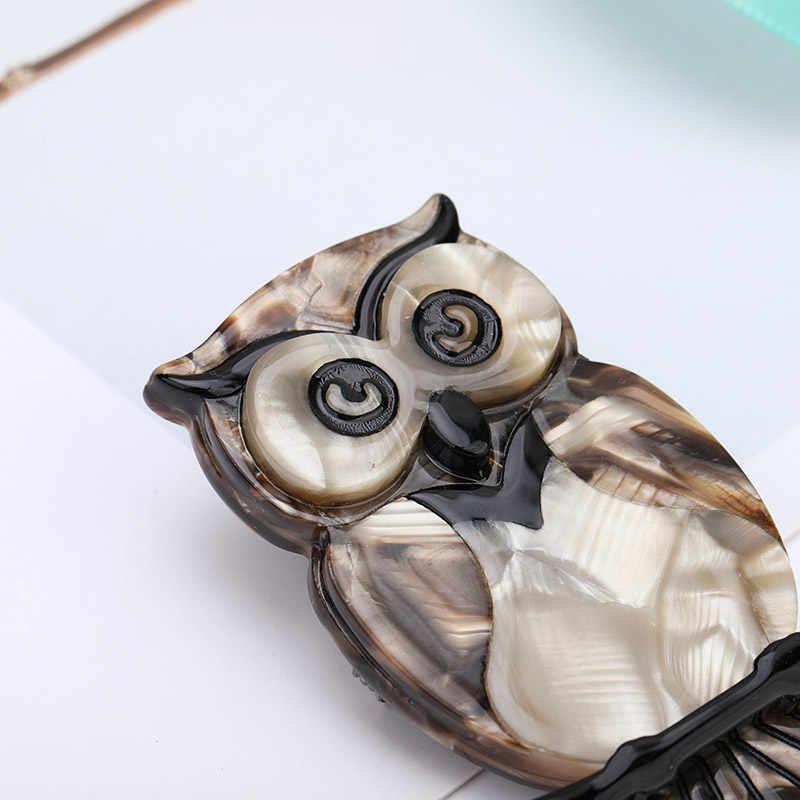 Maikale Vintage Acrylic Burung Hantu Bros Pin Burung Bros untuk Wanita Sesuai dengan Selendang Asetat Resin Hewan Brocade Anak-anak Tas Aksesoris Hadiah