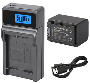 Battery Pack + LCD USB Charger for Sony NP-FV30, NP-FV50, NP-FV50A, NP-FV70, NP-FV70A, NP-FV100, NP-FV100A InfoLithium V Series