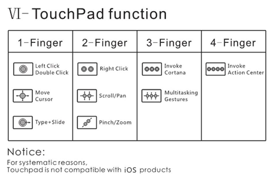 bluetooth dobrável com touchpad para windows android ios tablet ipad telefones