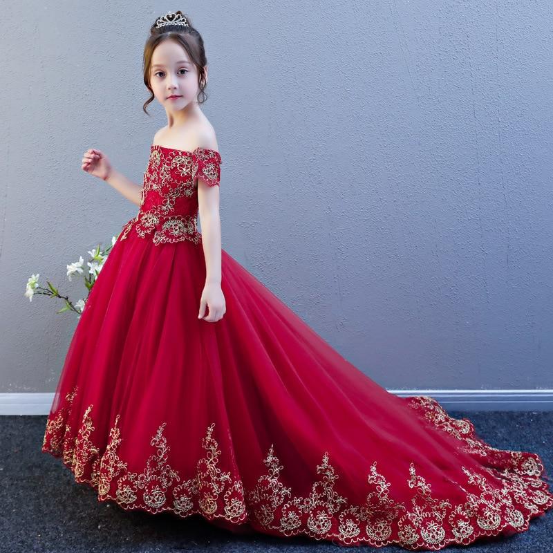 Girls Wedding Dress Puffy Yarn Tailing Children Evening Gown Princess Dress Flower Boys/Flower Girls Catwalks Host Piano Costume