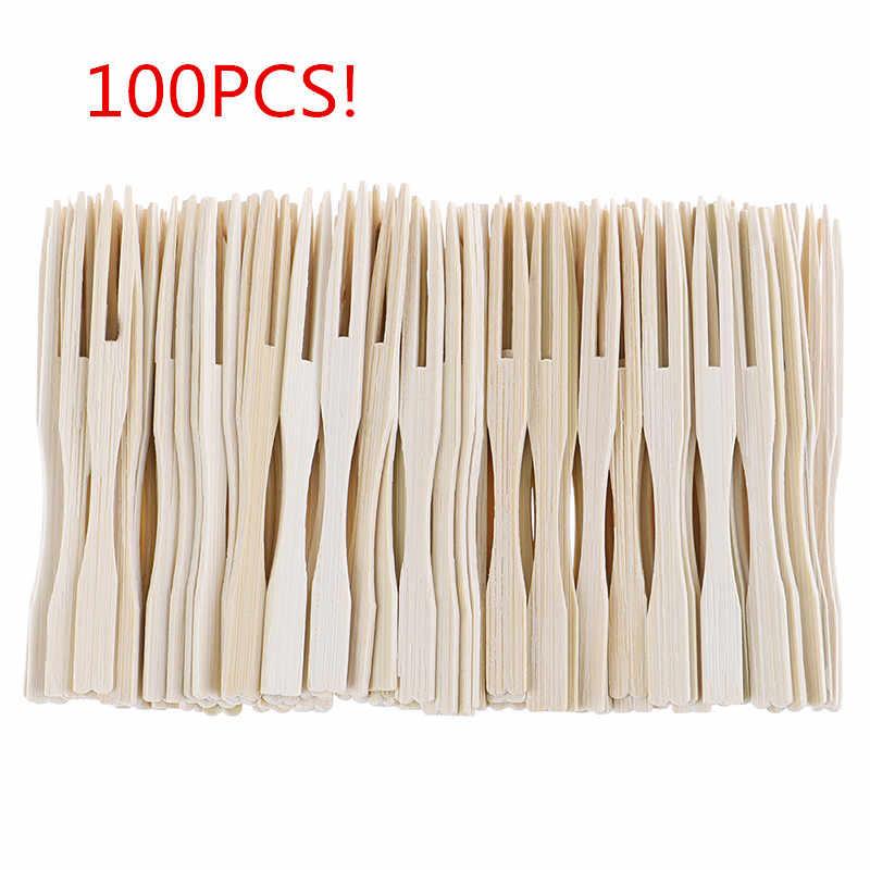 100個竹使い捨て木製フルーツフォークデザートカクテルフォークセットパーティーホーム家庭用装飾食器用品