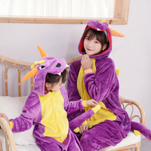 Winter kigurumi Halloween purple dinosaur Unisex parent-child pajama cartoon flannel Christmas Pyjamas women home Sleepwear 2019