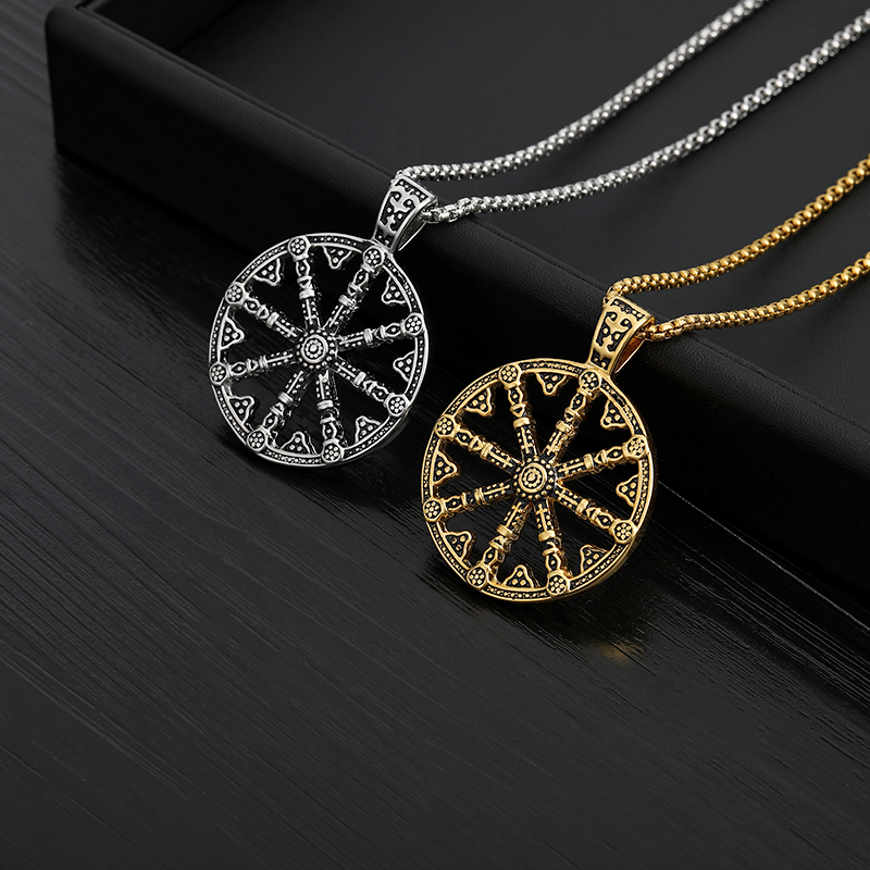 Wheel of Life Samsara Buddhist Stainless Steel Pendant Necklace Men Talisman Necklace Men Necklace jewelry Gifts