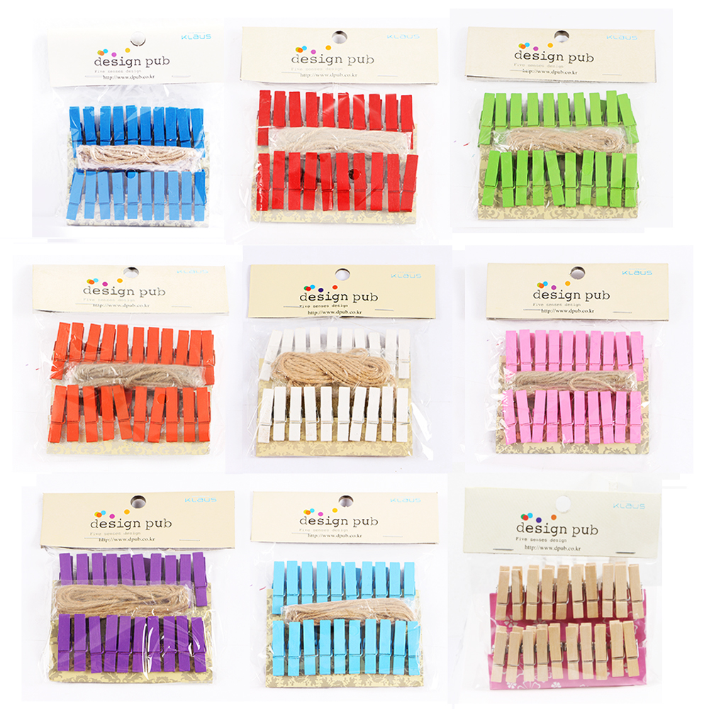 20Pcs/pack Colored Mini Wood Clip Photo Album Home Office Party Decorate Spring Clips With Hemp Rope