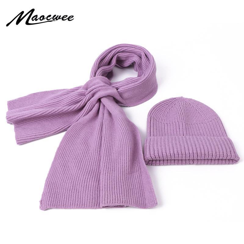 Hat Scarf Set Children's Hat Woman's Hat Warm 2 Pieces Autumn Winter Beanie Knitted Skullies Crochet Winter Solid Color Female