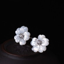 925 Sterling Silver Earrings Shell Carvings Flowers Stud For Women Fashion Mosaic Zircons Jewelry