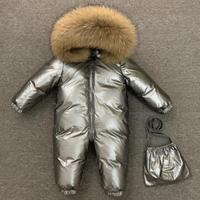 Russia Winter Kids Girls Boys Snowsuit Jumpsuit baby real fur collar thicken 90% white duck down jackets kids high quality coats