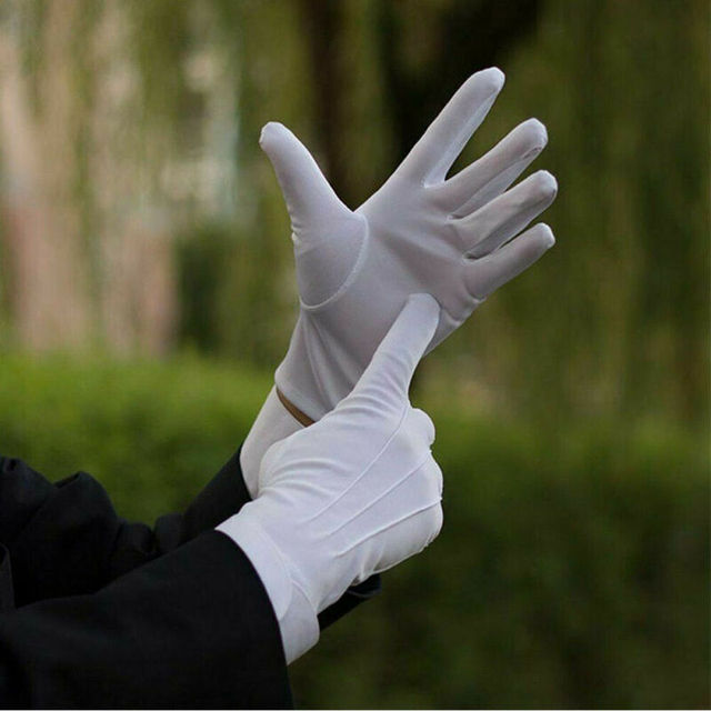 High Quality HOT Selling Functional 1 pair Cotton gloves Khan cloth quality check Solid gloves rituals play white gloves 4