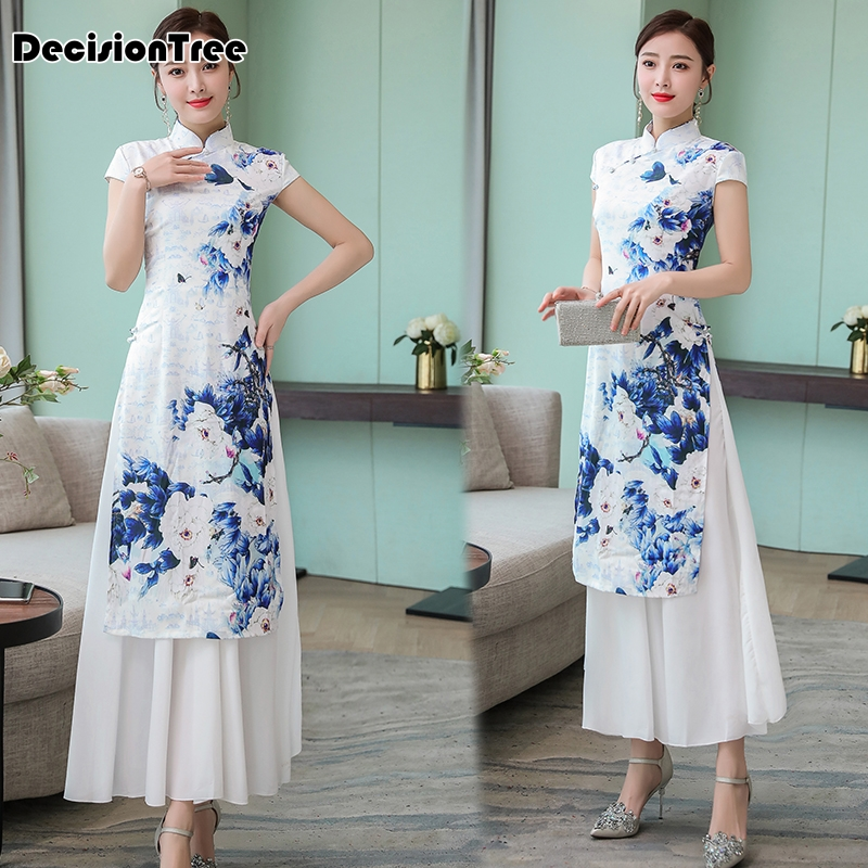 2019 Vintage Casual Retro Cheongsam Ao Dai Vietnam Chinese Style Women Vintage Floral  Ao Dai Vietnam Clothing Asian Clothes