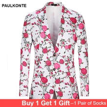 PAULKONTE 2019 New Flower Print Mostly Male Dress Jacket Coat Fashion High Quality Slim Fit Blazer Classic Mens