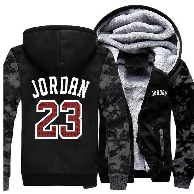 Sudadera con capucha gruesa número 23 para hombre, chaqueta con capucha de lana cálida informal para hombre, ropa de calle, chaquetas para hombre, abrigos Harajuk para hombre, Sudadera con capucha Hip Hop 2019