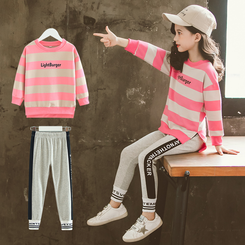 >Casual <font><b>Girls</b></font> Clothes Long Sleeve Loose Striped T-shirts + Sport Pants 2 Pieces Baby Kids Tracksuits Cotton <font><b>Soft</b></font> <font><b>Girls</b></font> <font><b>Outfits</b></font>