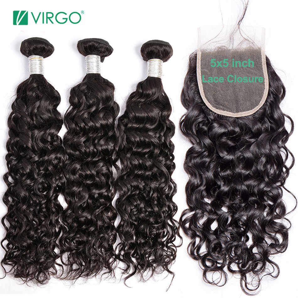 Virgo Hair Brazilian Water Wave 3 Bundles With Closure Human Hair Bundles with 4X4 5X5 Closure Human Hair Remy Hair Weave