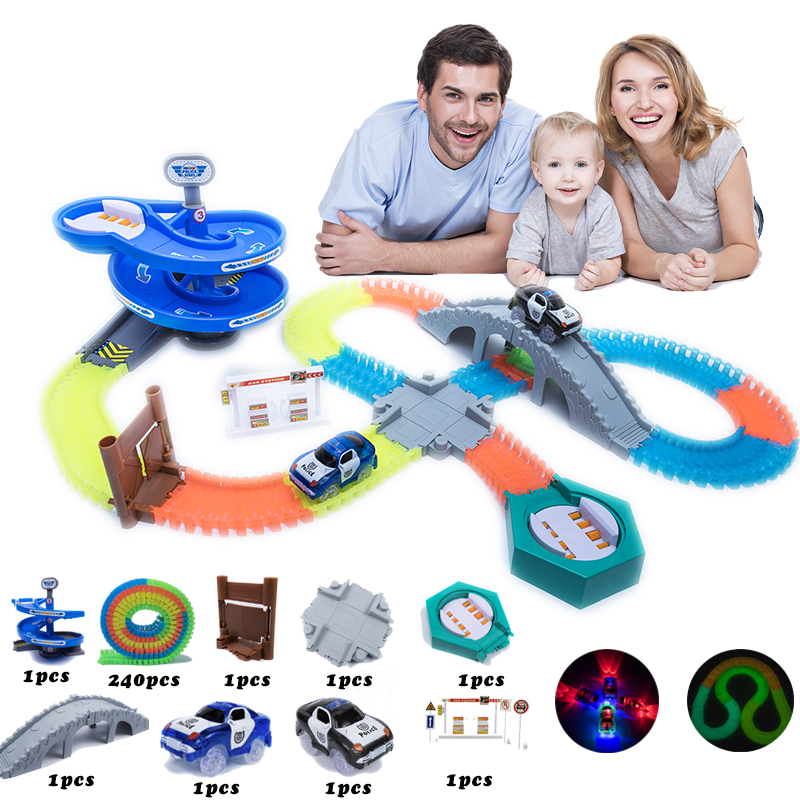 2018 New Racing Track Set 160/240/320/800 Race Track With Car Assembly Flexible Glowing Tracks Vehicle Toys Children Kids Gifts